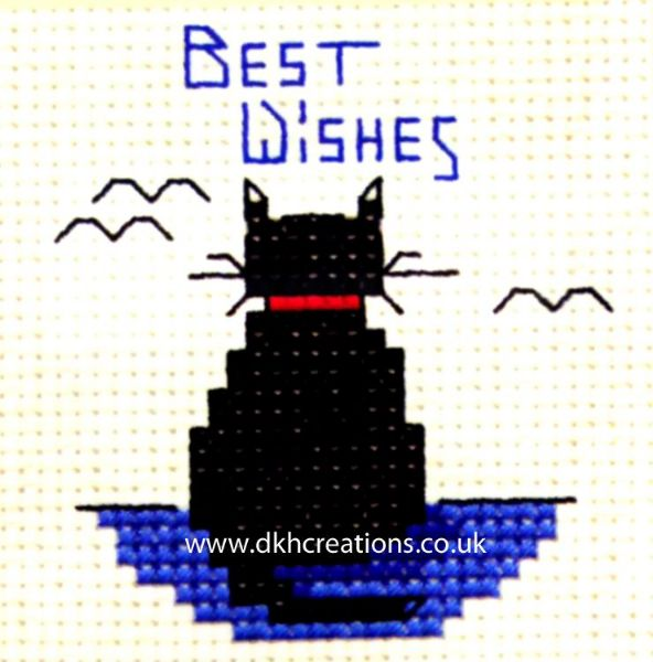 Best Wishes Cat Card Cross Stitch Kit